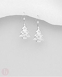 Cercei din argint model brad de Craciun cu cristale