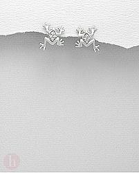 Cercei din argint model broasca si cristale