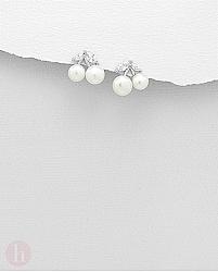 Cercei din argint model cirese cu perle