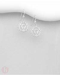 Cercei din argint model cu Chakra Gatului