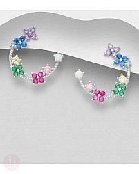 Cercei din argint model cu flori si cristale albe si colorate