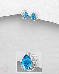 Cercei mici din argint model cu frunza cu cristale albe si albastre