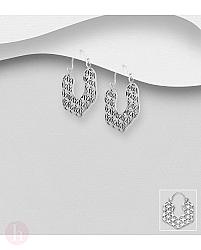 Cercei din argint model dantelat cu floarea vietii