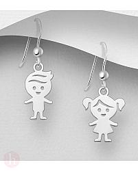 Cercei din argint model fetita si baiat