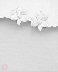 Cercei din argint model floare cu perle de cultura