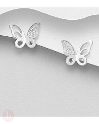 Cercei din argint model fluture cu cristale