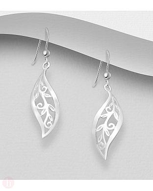 Cercei din argint model frunza