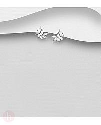 Cercei din argint model frunze cu cristale