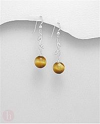 Cercei din argint model frunze si pietre aurii