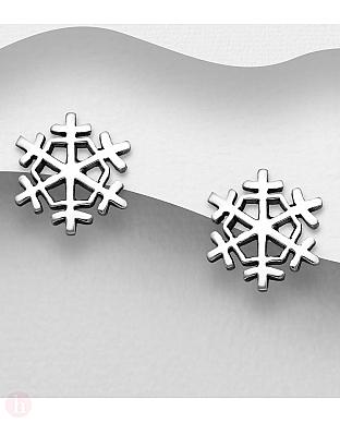 Cercei din argint model fulg de zapada