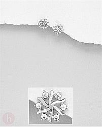 Cercei din argint model fulg de zapada cu cristale
