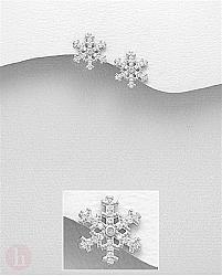 Cercei din argint model fulgi de zapada cu cristale albe