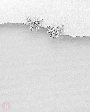 Cercei din argint model fundita cu cristale