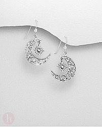 Cercei din argint cu luna si stea, model spiralat