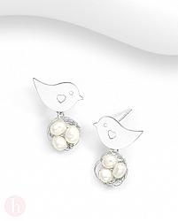 Cercei din argint model pasare, inima, cuib cu perle