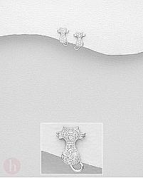 Cercei mici din argint model pisica cu mustati si cristale albe