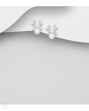 Cercei din argint model ren cu perle si cristale