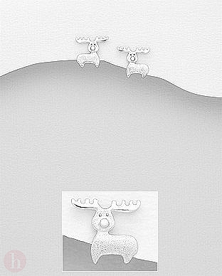 Cercei din argint cu Rudolf - renul lui Mos Craciun