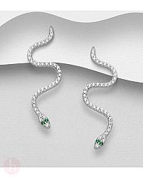Cercei din argint model sarpe cu cristale