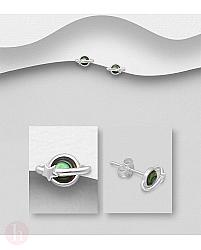 Cercei din argint model Saturn cu scoica Abalone