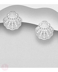 Cercei din argint model scoica cu cristale