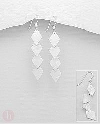 Cercei din argint model sirag de romburi cu aspect mat