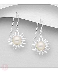 Cercei din argint model soare cu perla alba