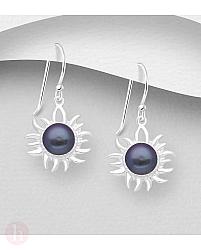 Cercei din argint model soare cu perla neagra