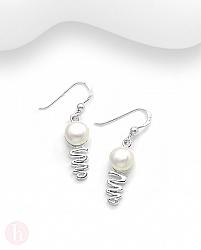 Cercei din argint model spirala cu perle albe