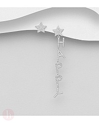 Cercei din argint model stea, cristale si mesaj HAPPY