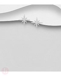 Cercei din argint model stea cu cristale albe