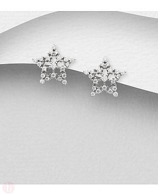Cercei din argint model stea cu cristale