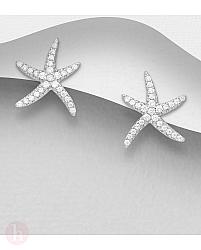 Cercei din argint model stea de mare