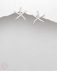 Cercei din argint model stea de mare cu cristale albe
