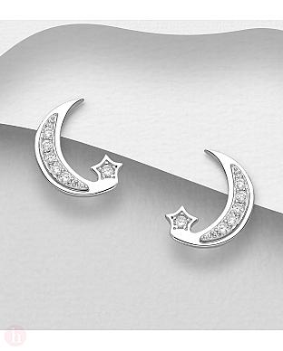 Cercei din argint model stea si luna cu cristale albe