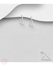 Cercei din argint model triunghi