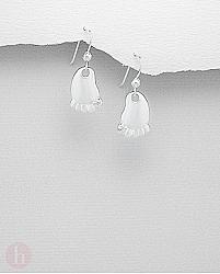 Cercei din argint model talpa de picior cu cristale albe