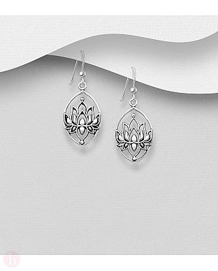 Cercei din argint oxidat model floare de lotus