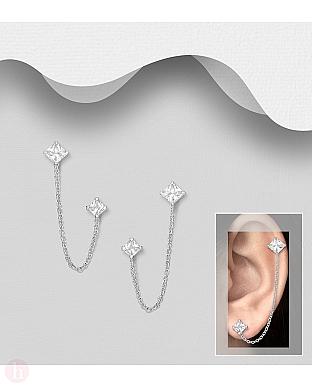 Cercei din argint pentru doua gauri cu cristale si lantisor