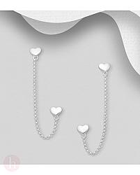 Cercei din argint pentru doua gauri, cu inimioare si lantisor
