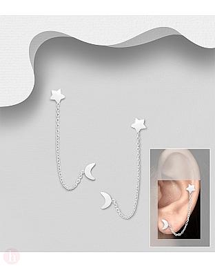 Cercei din argint pentru doua gauri cu stea, luna si lantisor