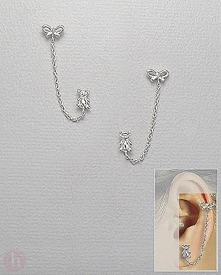 Cercei din argint pentru doua gauri cu urs, fundita si lantisor