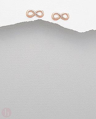 Cercei din argint placat cu aur, model infinit