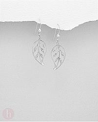 Cercei din argint rodiat, model frunza cu cristale albe
