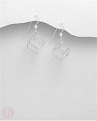 Cercei din argint simplu cu forme geometrice - cub in spatiu