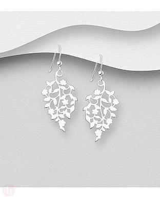 Cercei din argint simplu model frunze