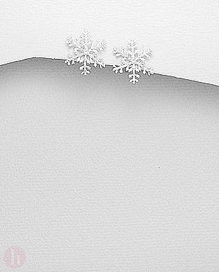 Cercei din argint simplu model fulg de zapada