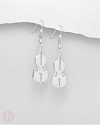 Cercei din argint simplu model vioara