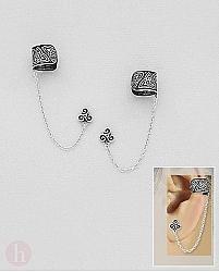 Cercei din argint tip Ear Cuff cu lantisor si Triskelion