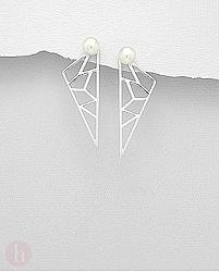 Cercei din argint cu forme geometrice si perle de cultura